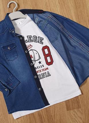 Джинсовая рубашка с футболкой на мальчика. турция р-ры: 9, 10, 11, 12 лет.