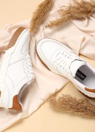 Белые кеды женские кожаные