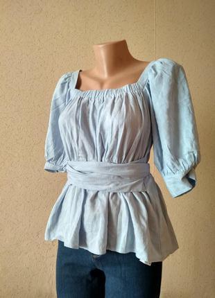Оригінальна голуба блуза з зав'язками. lost ink віскоза, льон