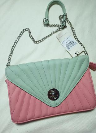 Tu woman клатч.  клатч с длинной ручкой. сумка розовая/ бирюзовая