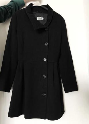Пальто женское чёрное короткое удлинённое на пуговицах осень весна xs s