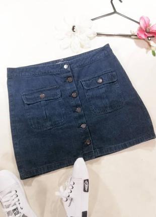 Юбка джинсовая, трапеция на пуговицах