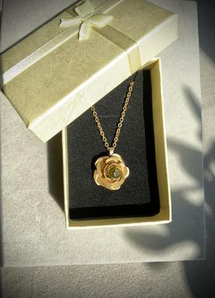Подвеска япония винтаж цвет золото перидот цветок роза цепочка кулон ретро