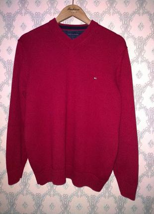 Мужской красный пуловер джемпер кофта tommy hilfiger