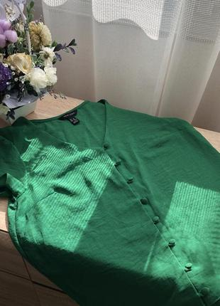 Блуза сорочка футболка зелёная цвет трава new look 10/38 размер