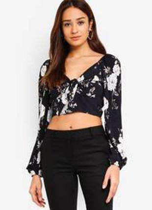 Топ  forever newisabel tie front balloon sleeve top