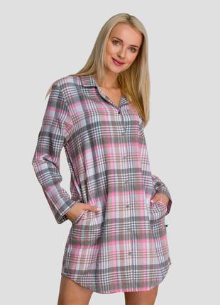 Женская домашняя фланелевая сорочка из хлопка на пуговицах с карманами key lnd 423 b21