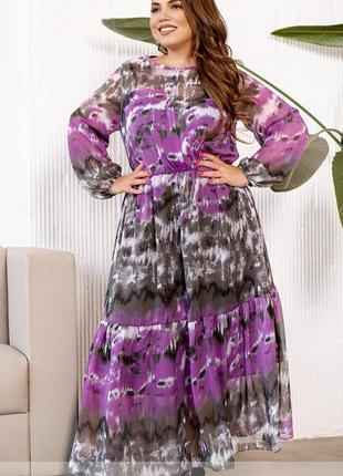 Стильное шифоновое платье-батал с воланами 💕