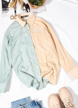 Двухцветная рубашка женская, модная рубашка свободная, оверсайз рубашка