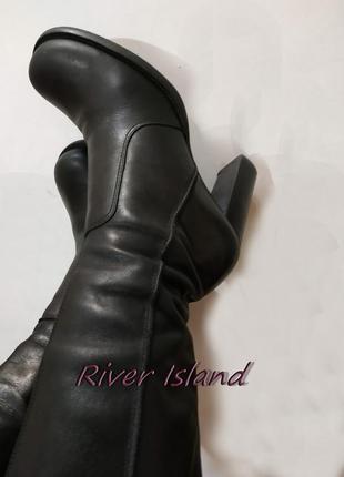 Сапоги кожаные высокие деми river island (бразилия), распродажа товара!