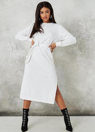 Белое платье миди с разрезами, осеннее платье спортивное, теплое платье с поясом, сукня