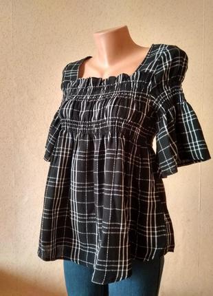 Красива блуза в клітинку з завищеною налією. 100%  бавовна. lost ink