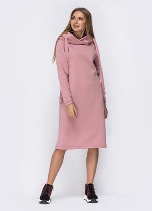 Разные цвета! комфортное платье худи удлинённое ниже колен миди кофта в спортивном стиле с копюшоном толстовка пудра с длинным рукавом свободное