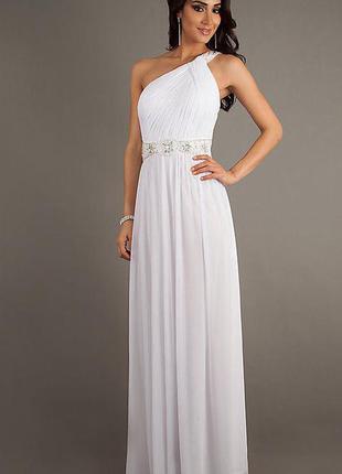 Платье вечернее в греческом стиле со стразами, бисером и пайетками (s или 44 размер)
