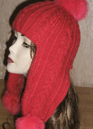 Оригинальная шапка из альпаки с помпонами из натурального меха. ручная работа!