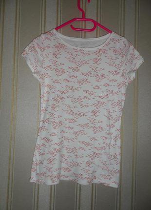 Женская белая футболка с принтом размер 40 // l  хлопок