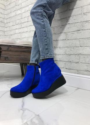 Женские ботинки на танкетке натуральная замша синие