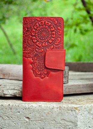 Кожаный красный кошелек женский длинный с тиснением орнаментом цветущий сад
