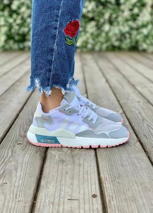 Женские кроссовки ◈adidas nite jogger one 'light grey pink'◈ 😍