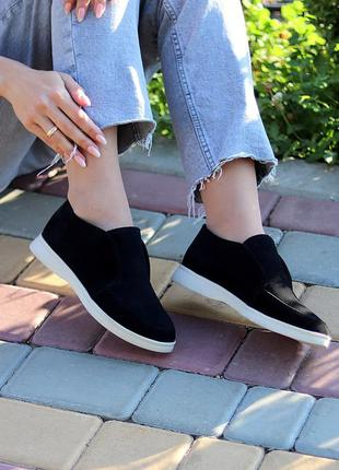 Натуральная замша, модные черные туфли - лоферы