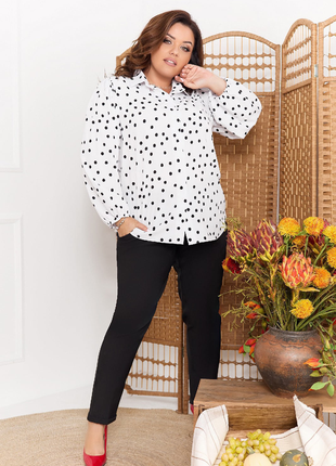 Блуза рубашка в горох белая чёрная