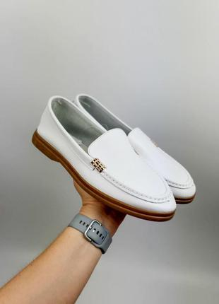 Туфли лоферы натуральная кожа белые женские балетки