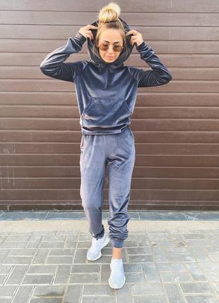 Спортивный прогулочный костюм из велюра плюша джоггеры с карманами кофта с карманом и капюшоном аля
