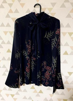 Блуза под горло с галстуком завязкой / большая распродажа!