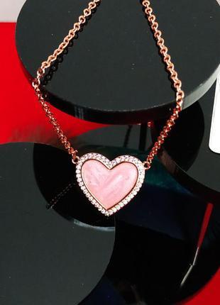 Ожерелье колье кулон серебро 925 проба цирконий пломба бирка новое розовое золото эмаль камни