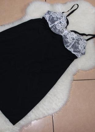 🌷 черный шикарный пеньюар микрофибра с кружевом s\m ночная рубашка неглиже от h&m