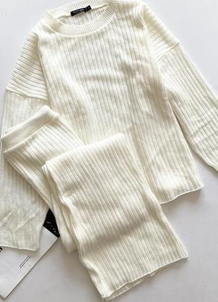 Белый молочный трикотажный костюм л