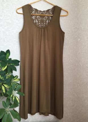 Милое летнее платье с кружевной спинкой s-m размер