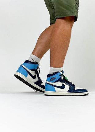 Nike air jordan retro 1 мужские кроссовки живые фото
