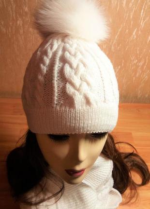 """Комплект """"аляска"""" ручной работы  (шапка с помпоном, шарф-хомут и варежки)"""