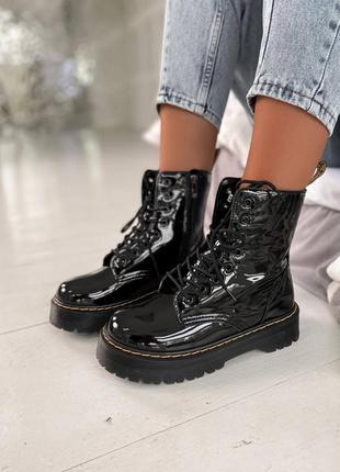 Женские осенние ботинки dr. martens jadon patent black