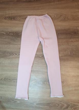 Теплые лосины с начесом штаны утепленные на девочку 7-8лет