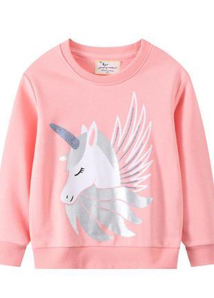 Свитшот для девочки с изображением единорога розовый unicorn with wings