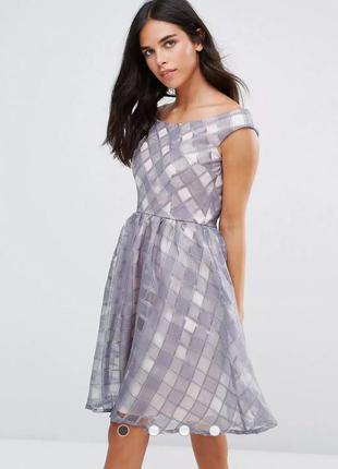 Приталенное платье в клеточку из органзы, пышное, с открытыми плечами little mistress asos