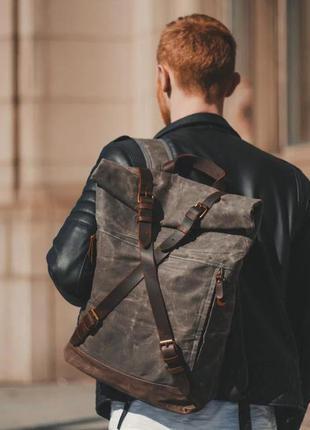 Мужской рюкзак ролл канвас кожа чоловічий холст вощеный