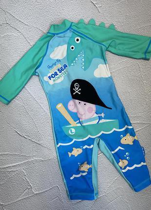 Купальный костюм, комбинезон пляжный свинка пеппа, купальник для мальчика с уф защитой