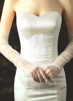 Перчатки фатиновые белые высокие