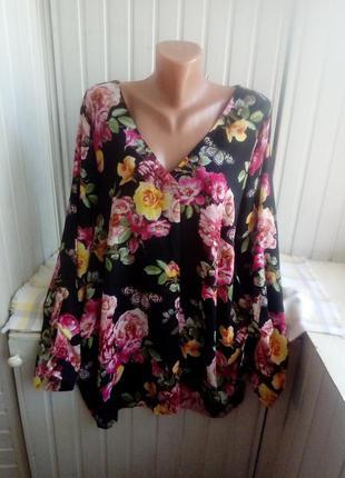 Красивая шифоновая блуза туника большого размера батал