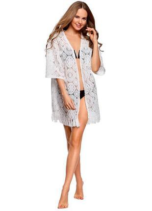 Кружевное белое кимоно / белая пляжная накидка с бахромой oodji