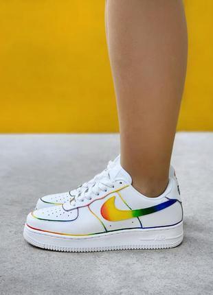 Nike air force white rainbow  кроссовки найк аир форс наложенный платёж купить