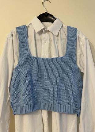 Голубой вязаный топ, жилетка, свитер без рукавов новый
