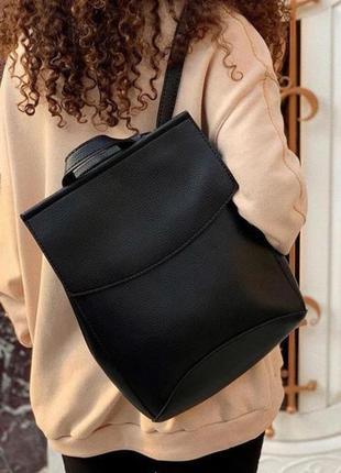 Жіночий рюкзак з еко-шкіри (чорний) . рюкзак женский.