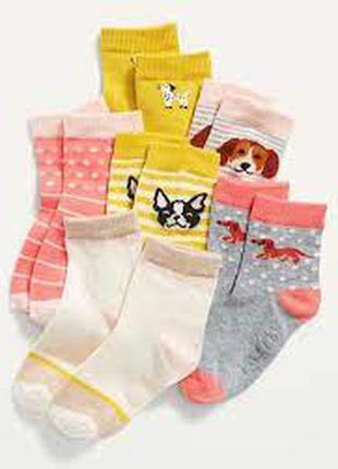 Детские носки, носочки для девочки old navy, набор носков 6 пар, р. 2-3 и 4-5 лет