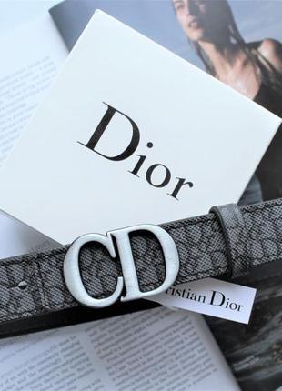 Женский ремень dior saddle dark grey