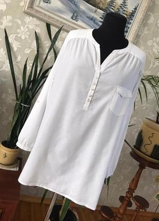 Батал 22 р. натуральная длинная блуза свободного кроя