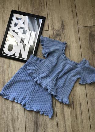 Шикарный вязаный комплект (топ + шорты )
